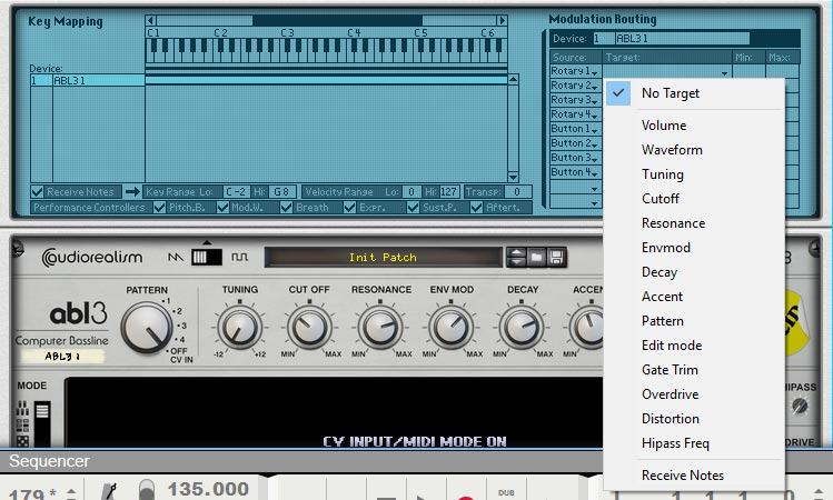ABL3 Bass line Synthesizer in the Combinator of Propellerhead Reason