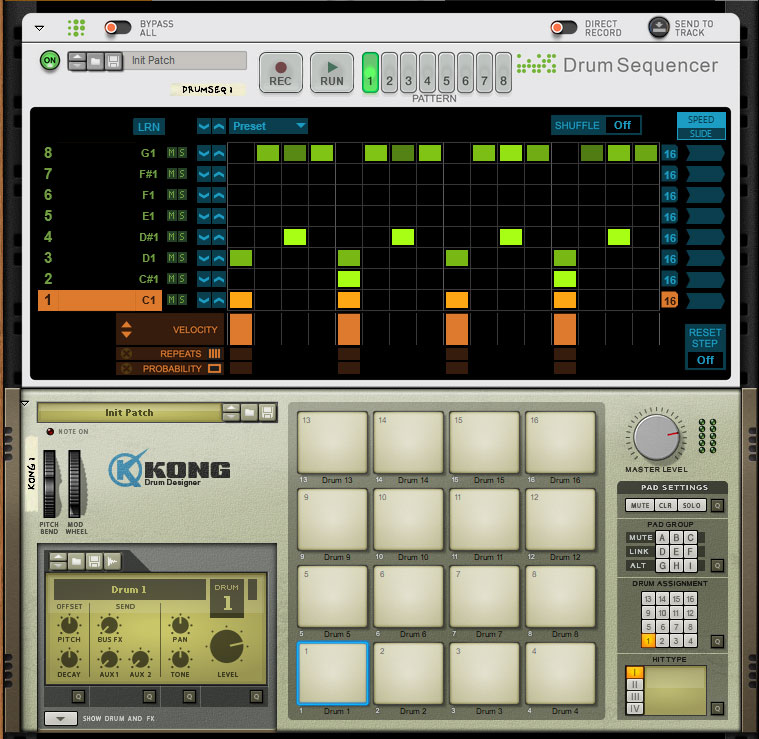 drum sequencer in reason 10 rack extension reason