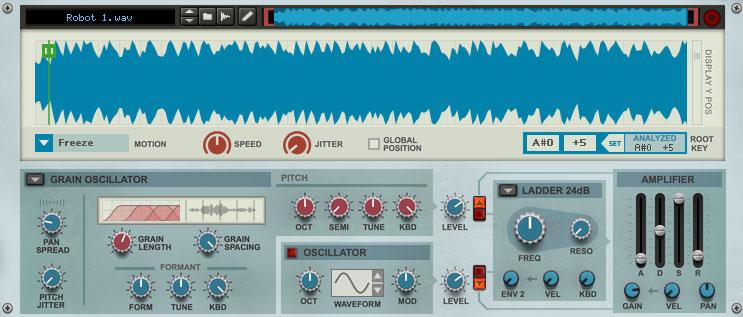 Grain oscillator - playing the sound as a wavetable