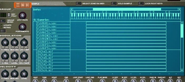 Choir setup using the NN-XT sampler
